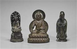 Three Antique Chinese Bronze Deities