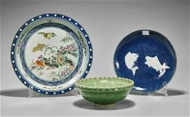 Three Various Chinese Porcelain Dishes