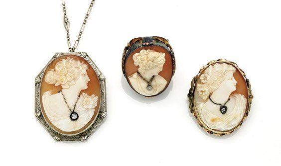 THREE ANTIQUE CAMEO SHELL JEWELRY PIECES