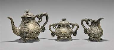 CHINESE EXPORT STERLING SILVER TEA SET