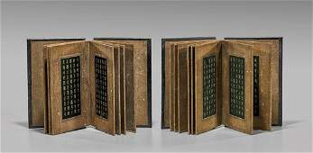 TWO SPINACH JADE  HARDWOOD BOOKS