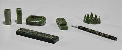 Carved Spinach Green Jade Writing Set