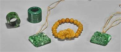 Five Carved Jadeite/Hardstone Jewelry