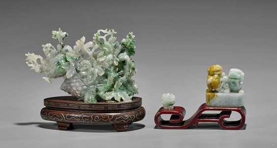 Three Chinese Jadeite Carvings