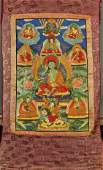 Antique SinoTibetan Painted Thangka Milarepa