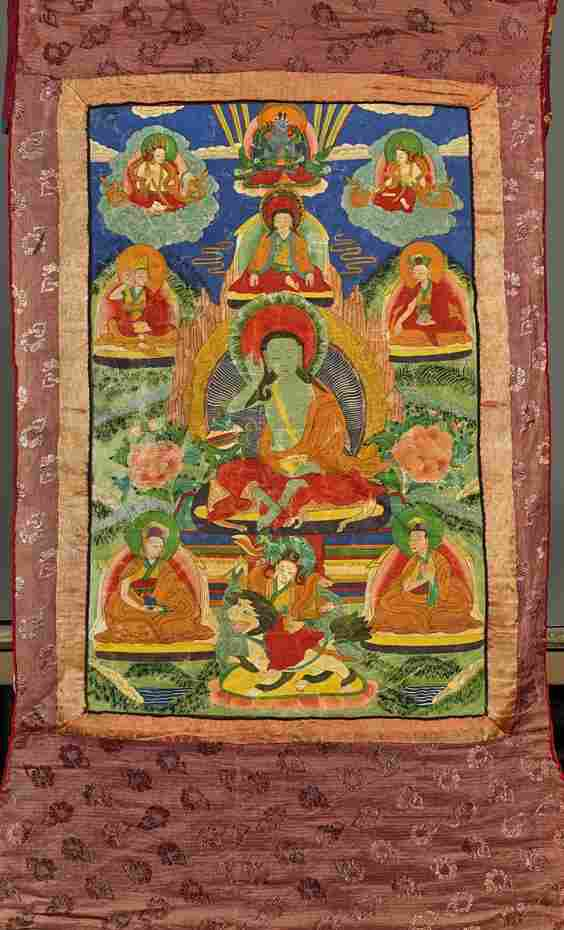 Antique Sino-Tibetan Painted Thangka: Milarepa