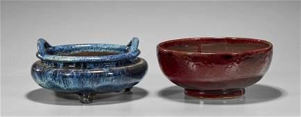 Two Chinese Glaazed Items Bowl  Censer