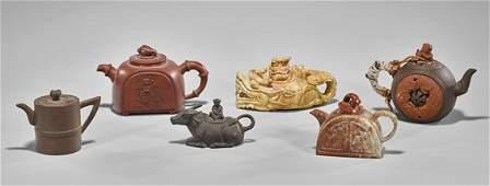 Six Chinese Teapots Yixing  Hardstone