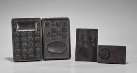 Four Chinese Carved Inkstones
