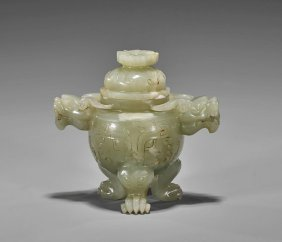 Small Celadon Jade Tripod Covered Censer