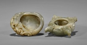 Two Small Carved Jade Brushwashers