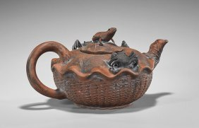 Large Chinese Moulded Yixing Pottery Teapot