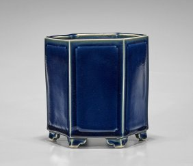 Chinese Deep Blue Hexagonal Brushpot