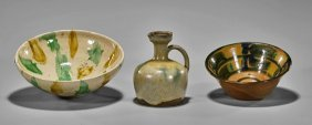 Three Antique Chinese Sancai Glazed Ceramics