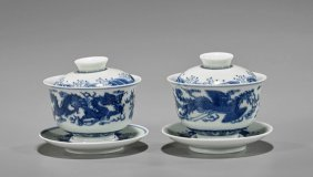Pair Kangxi-style Blue & White Marriage Cups
