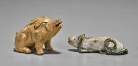 Two Antique Chinese Glazed Ceramic Animals