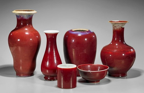 Six Chinese 'Ox-Blood' Red Porcelain Vases