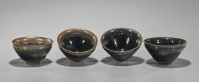 "Four Song-style ""hare's Fur"" Glazed Tea Bowls"