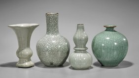 Four Early-style Celadon Crackle Vases