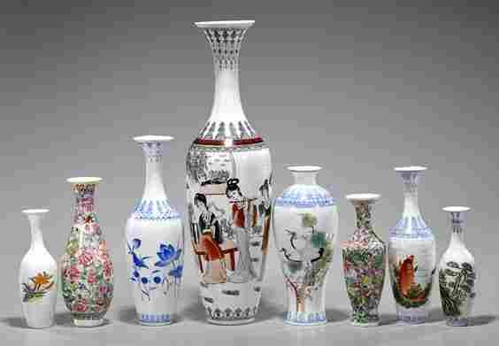 Eight Chinese Eggshell Porcelains Vases