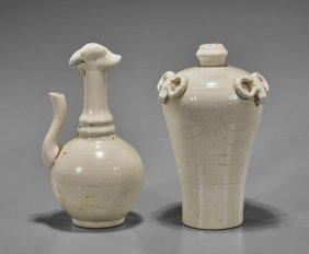 Two Chinese White Glazed Porcelains