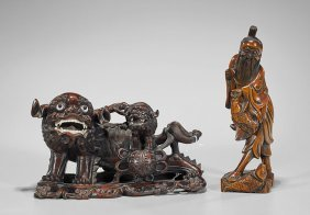 Two Chinese Wood Carvings: Immortal & Qilins