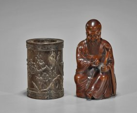Two Chinese Wood Carvings: Brushpot & Shoulao
