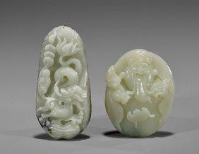 "Two Carved Celadon Jade ""pebbles"""