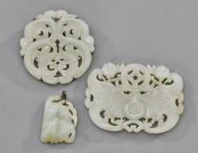 Three Chinese Celadon Jade Plaques