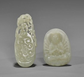 Two Chinese Celadon Jade Pendants