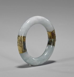 Chinese Jadeite & 14k Yellow Gold Bangle