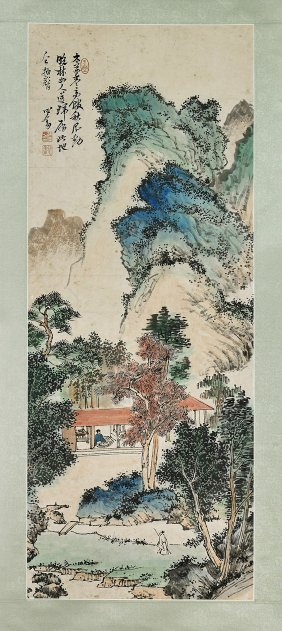 Two Chinese Paper Scrolls: Mountains