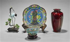Four Chinese & Japanese Enamel Items