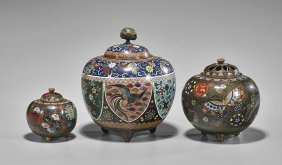 Three Cloisonné Enamel Covered Jars