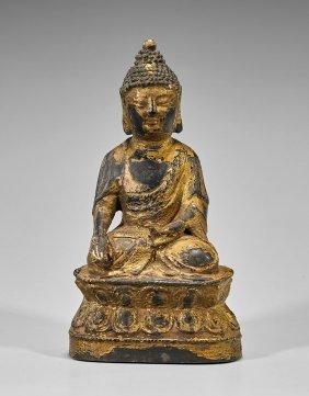 Chinese Gilt & Lacquer Bronze Buddha