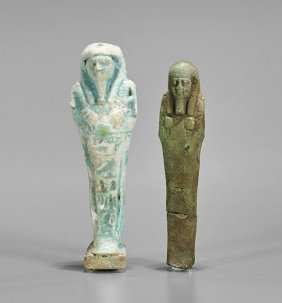 Two Egyptian Blue Faience Shabtis