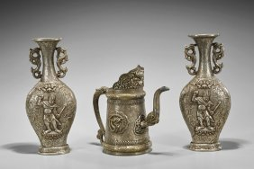 Three Sino-tibetan Silvered Bronze Vesselss