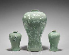 Three Korean Inlaid Celadon Maebeyong Vases