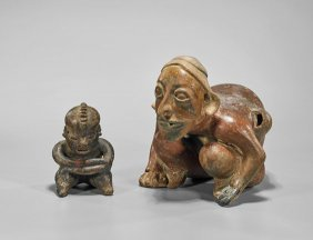 Two Pre-columbian Pottery Seated Figures