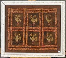 Framed Peruvian Woven Bird Textile