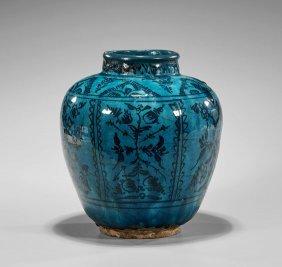 Antique Persian Turquoise Overglaze Vase