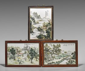 Three Enameled Plaques: Landscapes
