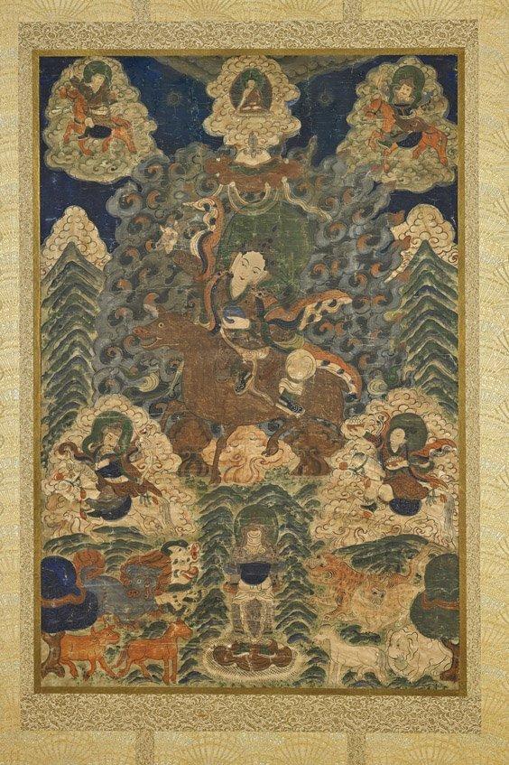 Large Antique Sino-Tibetan Thangka: Guru Rinopche