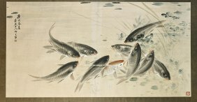 Very Large Chinese Paper Painting: Fish