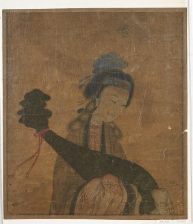 Antique Chinese Paper Painting: Female Musician