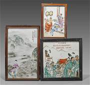 Three Chinese Porcelain Plaques: Figures