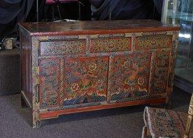Tibetan/mongolian Painted Storage Cabinet