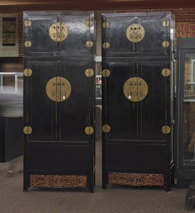 Pair Massive Antique Chinese Chest-on-chests