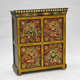 Two Antique Tibetan Lacquers: Cabinet & Bench