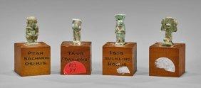 Four Mini Egyptian Faience Amulets